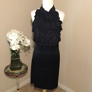BCBG Black Ruffled Halter Cocktail Dress 6